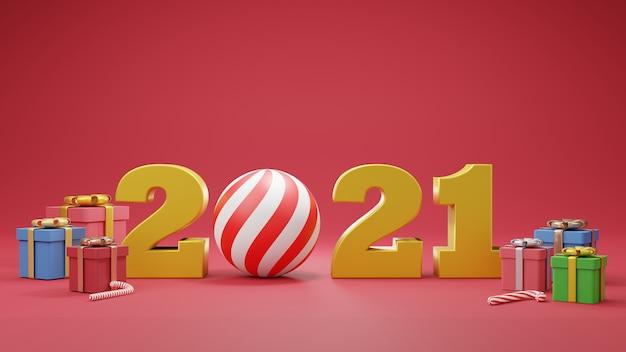 С новым 2021 годом. золотые числа с подарочными коробками и мячом. 3d иллюстратор