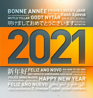 Happy new year 2021 greetings card from the world in different languages