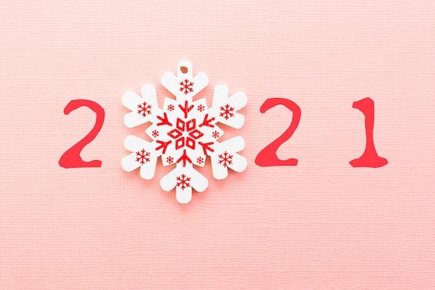 С новым 2021 годом. вместо цифры 0 снежинка.