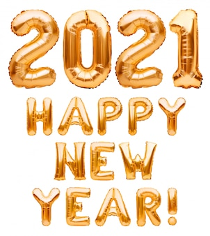 Happy new year 2021 phrase made of golden inflatable balloons isolated on white. helium balloons forming happy new year 2021 congratulation, foil celebration decoration.