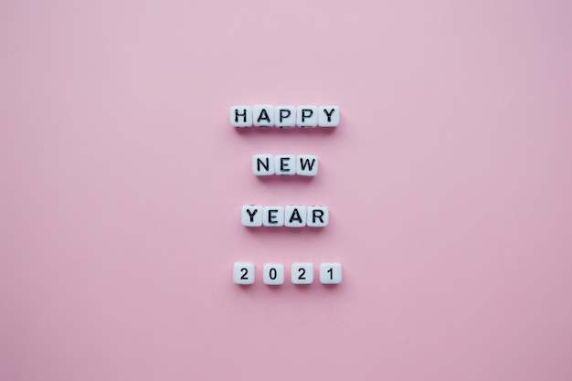 Happy new year 2021 text with blocks