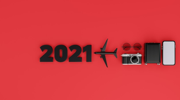 С новым 2021 годом: мобильный макет белого экрана с самолетом, камерой, багажом и солнцезащитными очками