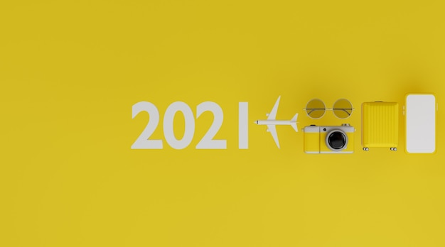 Happy new year 2021: white screen mobile mockup with airplane, camera, luggage, and sunglasses