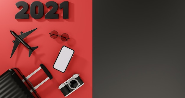明けましておめでとうございます2021:飛行機、カメラ、スーツケース、サングラスを備えた白い画面のモバイルモックアップ