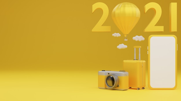 Happy new year 2021: white screen mobile mockup with airplane, luggage and camera