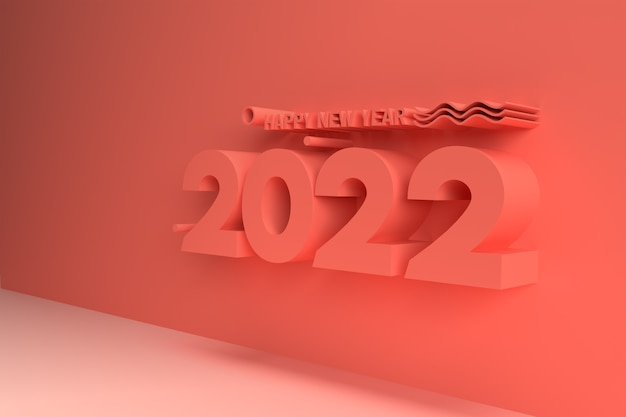 Happy new year 2022 3d number illustration on a red background