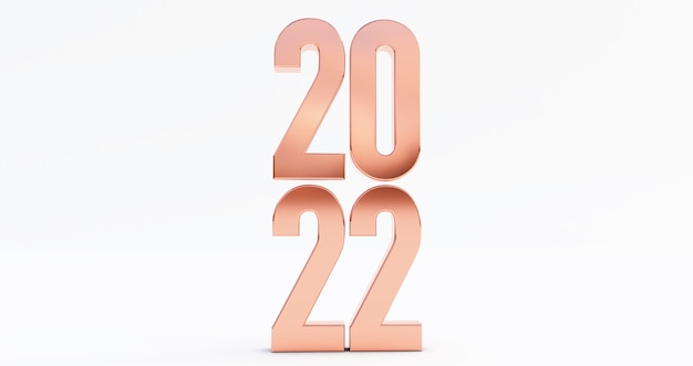 Happy new year 2022. 3d render of bronze 2022 year isolated on white background Premium Photo