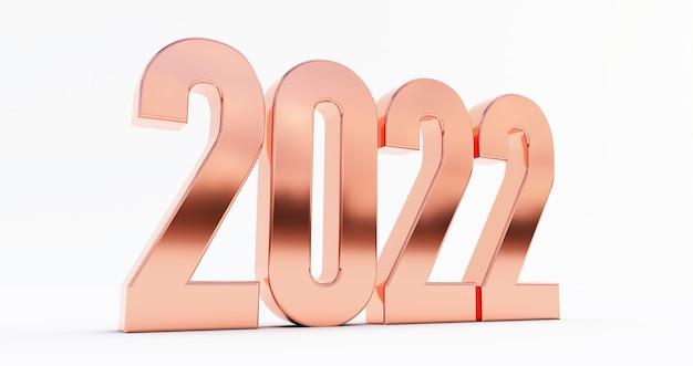 明けましておめでとうございます2022年。白い背景で隔離のブロンズ2022年の3dレンダリング