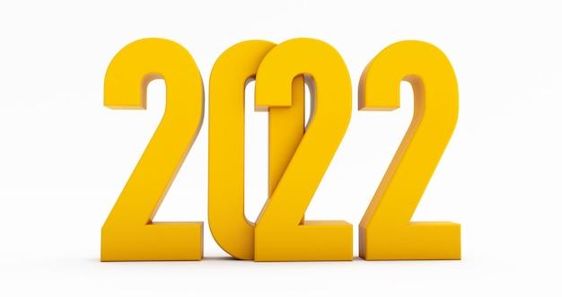 明けましておめでとうございます2022年。白い背景で隔離の黄色の2022年の3dレンダリング