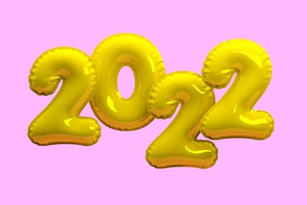 明けましておめでとうございます2022年。背景のリアルな金の風船。 3dレンダリング