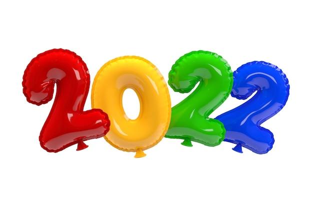 明けましておめでとうございます2022年。背景のリアルな色とりどりの風船。 3dレンダリング