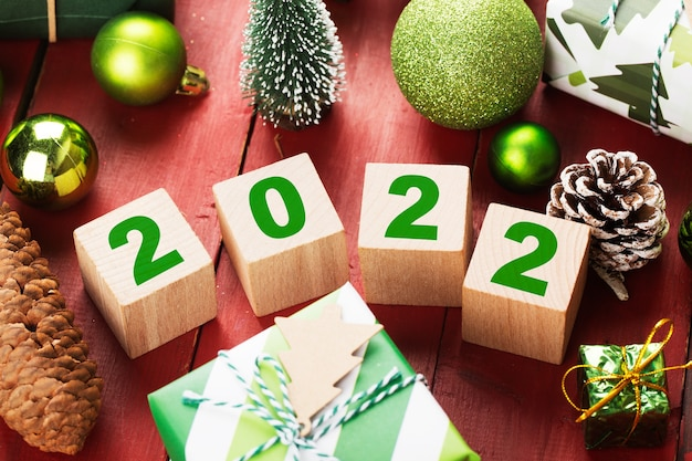 Happy new year 2022 christmas 2022 christmas gifts placed in a festive atmosphere