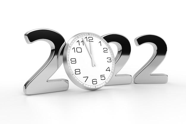 С новым годом 2022 концепция с часами, изолированные на белом фоне. 3d рендеринг