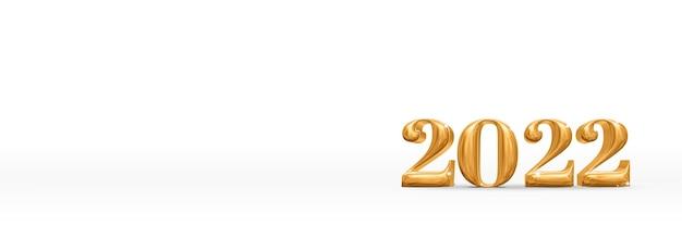 С новым годом 2022 золотой номер 3d рендеринг на белой студии