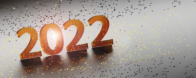 Happy new year 2022 greeting card with glass numbers over golden glitter. 3d illustration.