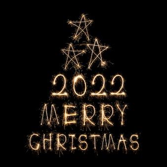 Happy new year 2022 sparkling burning text happy new year 2022 isolated on black background beauti