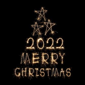 С новым годом 2022 сверкающий горящий текст с новым годом 2022, изолированные на черном фоне beauti