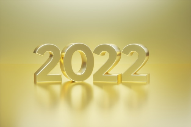 Happy new year 2022  text golden 3d numbers with gold background  greeting card banner poster