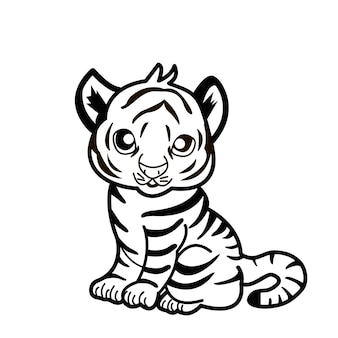 Happy new year 2022 year of tiger drawing tiger black and white lines for poster, brochure, banner, invitation card. isolated on white background. holidays content