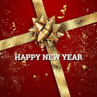 С новым годом баннер. конфетти, копия пространства.