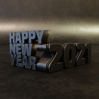 Happy new year black bold letters high quality render isolated