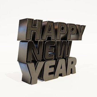 Happy new year black bold letters high quality render on white