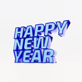 Happy new year blue bold letters high quality render on white