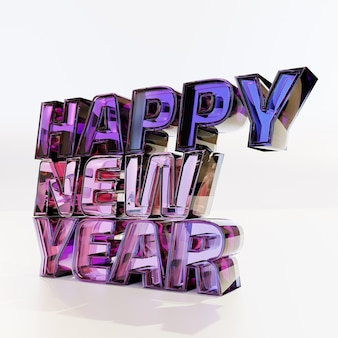 Happy new year bold letters in perspective
