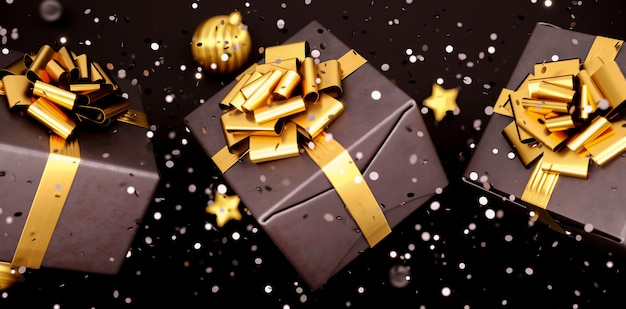 Happy new year or christmas black gift box