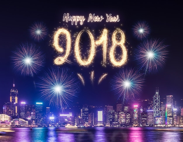 Happy new year over cityscape at night