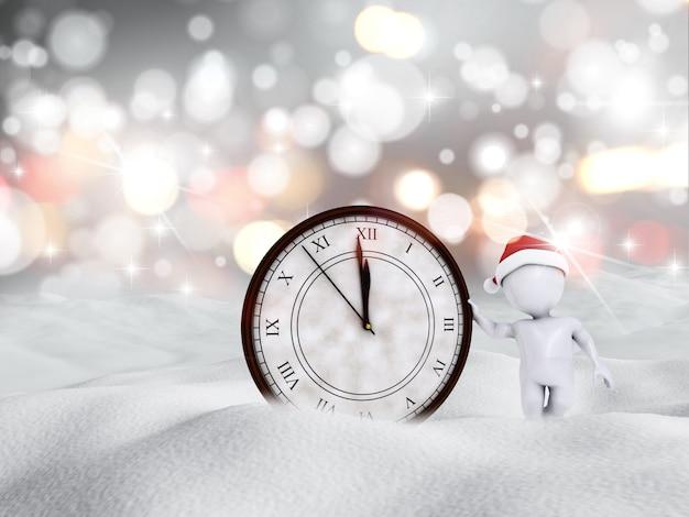 3d визуализации счастливого нового года снежная сцена с фигурой и часами