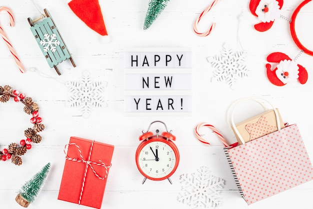 Happy new year composition alarm clock lightbox