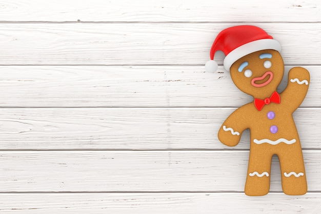 Happy new year concept. gingerbread man cookie in santa claus hat on a wooden table. 3d rendering