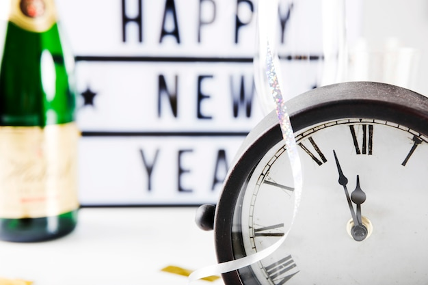 Happy new year concept with clock