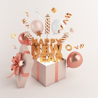 Happy new year decoration with opened gift box firework balloon
