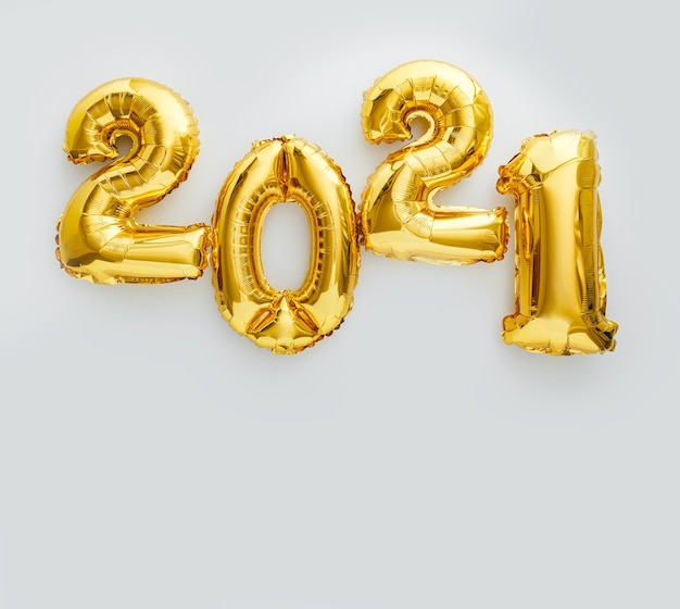 Happy new year gold foil balloons 2021 balloon on white