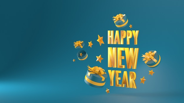 Happy new year gold material letter and gift box on a green background 3d rendering 3dillustration