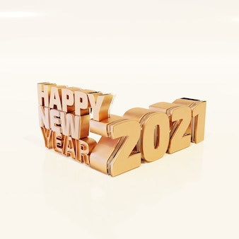 Happy new year golden bold letters high quality render isolated on white