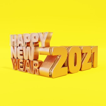 Happy new year golden bold letters high quality render isolated on yellow
