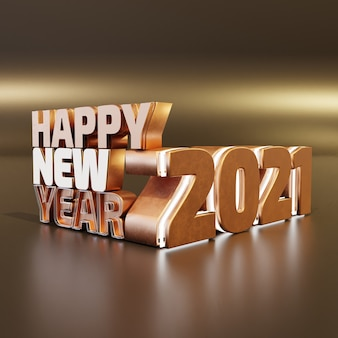 Happy new year golden bold letters high quality render isolated