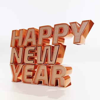Happy new year golden bold letters high quality render on white