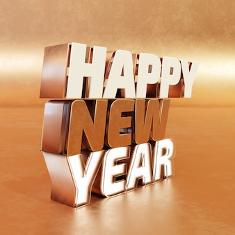 Happy new year golden bold letters high quality render