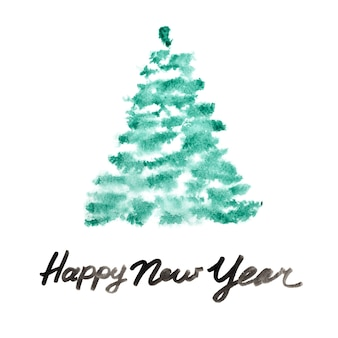 С новым годом - зеленая акварельная елка мазками кисти