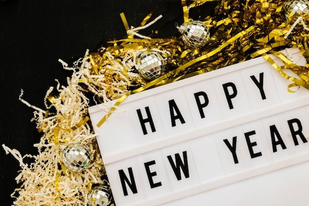 Happy new year inscription on board