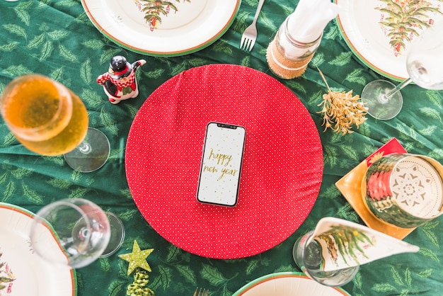 Happy new year inscription on smartphone