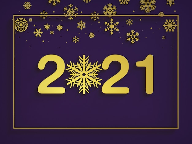 Happy new year , large gold numbers with gilded snowflake decoration with frame, top view