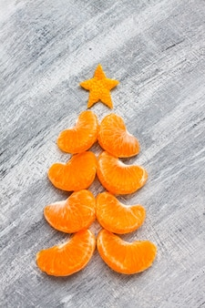 Happy new year and merry christmas banner on gray healthy food concept