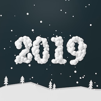 Happy new year and merry christmas design numbers 2019