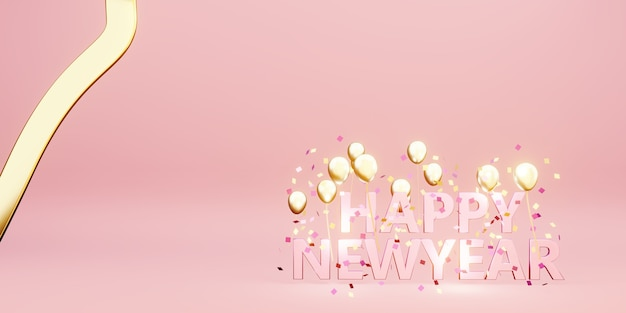 Happy new year message background image with balloons and ribbons 3d illustration
