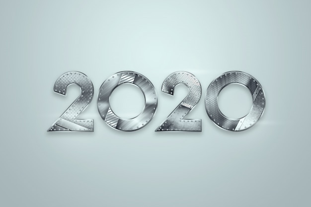 Happy new year, metallic numbers 2020 design on a light background. merry christmas
